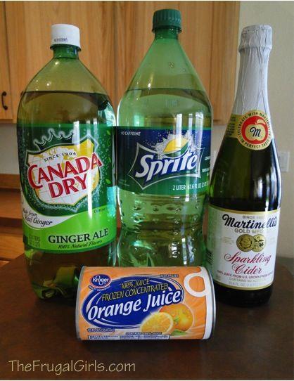 Easy Party Punch Recipe  2 Liter Sprite  2 Liter Ginger Ale  1 Bottle Sparkling Cider  1 can frozen OJ  Mix & Serve