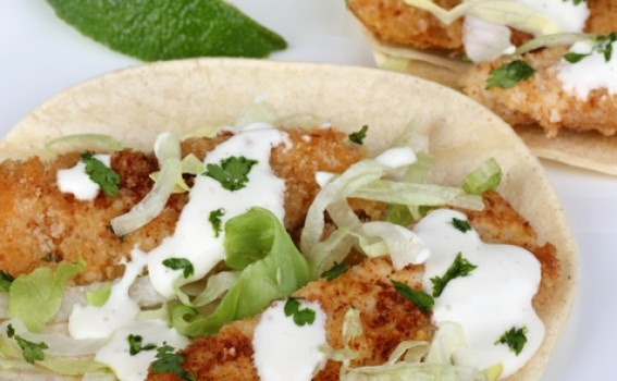 Whole Wheat Panko-Encrusted Fish Tacos with Ezekial Tortillas on The Jewish Hostess.com