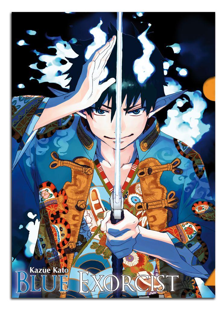 """Chemise plastique (Clear File) """"Blue Exorcist"""", manga édité par Kazé, offert à l'achat d'un manga de cette série."""