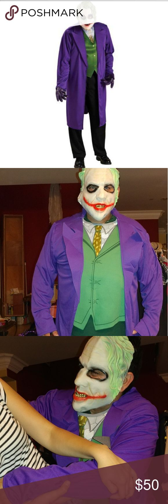 Batman The Dark Knight Joker Costume, Black/Purple Batman The Dark Knight Joker Costume, Black/Purple, X-Large Polyester Jacket With Printed Vest, Shirt And Tie - Also includes mask - Available in adult standard or xl - Machine wash cold, hand dry rubie's Jackets & Coats