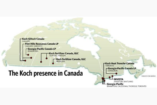 See the Koch brothers vast tar sands holdings...