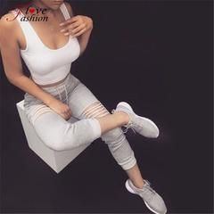 lady Ripped Hole pant skinny Pencil pants spring summer sexy slim fitted leggings cotton blend fashion capris freddy pants