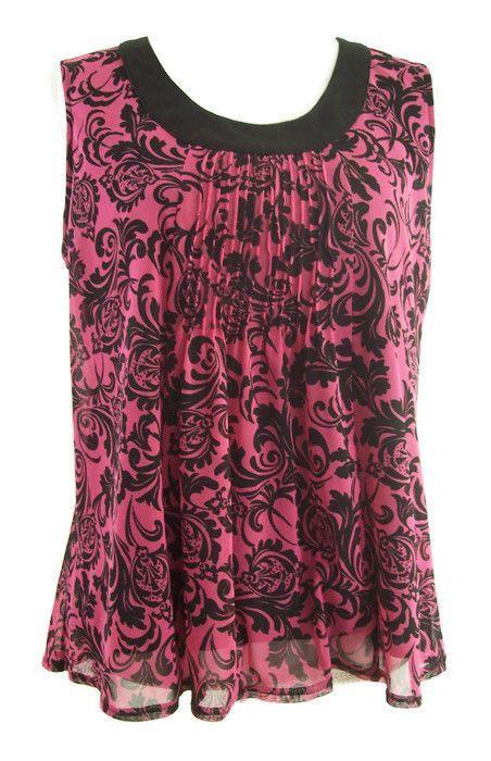 Rafaella Petite Womens Top Pink Black Paisley Sleeveless Cute Size Petite Medium #Rafaella #Blouse #Casual