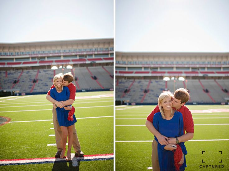 Engagement session by Captured Photograpy at Vaught Hemingway Football Stadium on the campus of Ole Miss