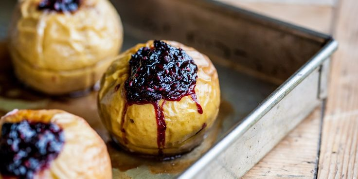 Baked apples stuffed with blackberries, raisins and almonds are a simple impressive dessert from chef William Drabble.