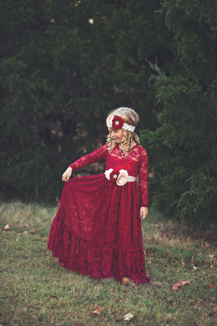lace flower girl dress, burgundy, girl lace dresses, wine red dress, long sleeve, toddler, country, rustic, red, baby girl dress, cranberry by PoshPeanutKids on Etsy https://www.etsy.com/listing/490729968/lace-flower-girl-dress-burgundy-girl