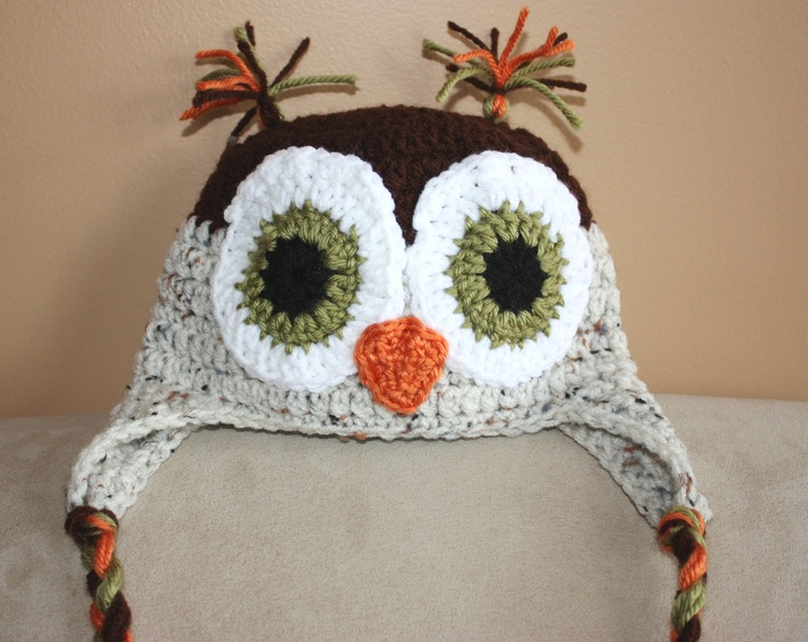 Crochet Owl Hat : Crocheted baby owl hat... cant wait to make for one for Quinlyn and ...