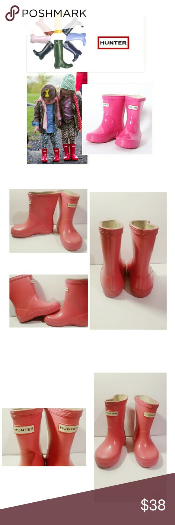 GIRLS HUNTER BOOTS PINK SZ TODDLER  5 Pre-Loved Pink Toddlers Hunter Boots Normal wear but still adorable and perfect for rainy days.  Priced to sell Hunter Boots Shoes Rain & Snow Boots