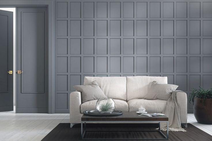 Panel Herrgård är en stilren panel som kan användas som traditionell bröstpanel men även för fondväggar, sänggavlar osv. Färdigmålad, med dolda skarvar. Finns i vit och grå. Interiörpanel, väggpanel, helpanel. Spegelpanel
