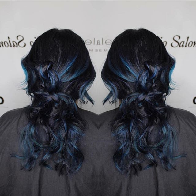 Midnight Blue hair color using Elumen!  #aureliosalon #goldwellapprovedus #kmsobsessed #elumen