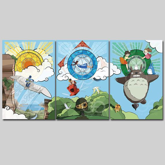Studio Ghibli Nouveau Anime Film Tryptic \ Nausicaa, Schloss im Himmel und Totoro \ Glasmalereien