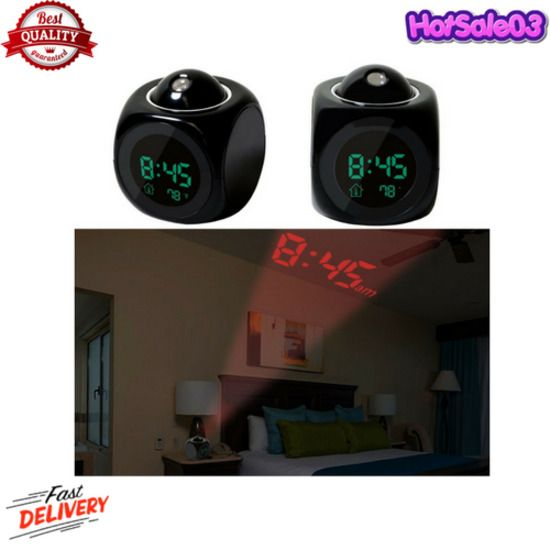 GPCT Projection Alarm Clock (Digital LCD Voice Talking Function,LED Wall/Ceiling #GPCT