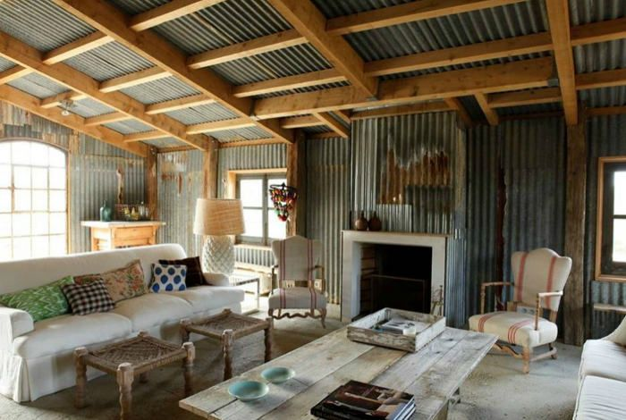 Tin interior rafter design corrugated tin shed ideas for Metal building interior ideas