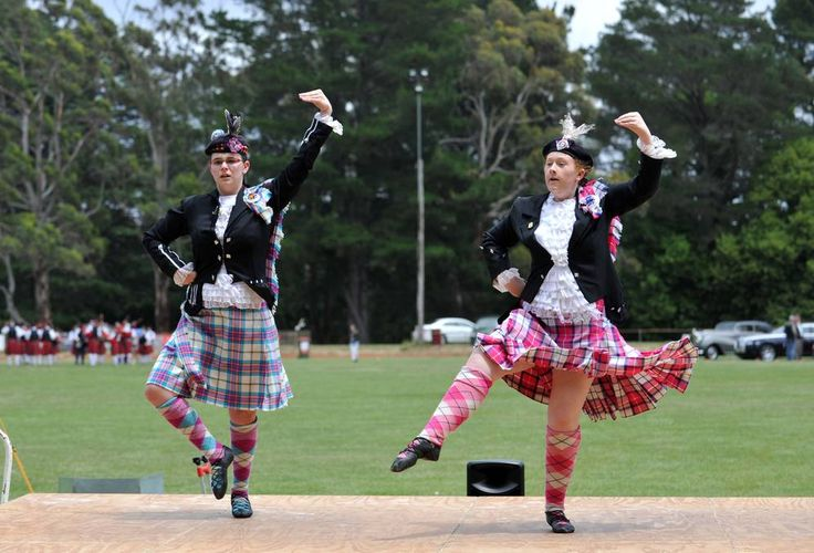 The 63rd Daylesford Highland Gathering.Bridget Rae and Erin Smith compete in the  14 - 16 age group dancing competition. Picture: JULIE HOUGH