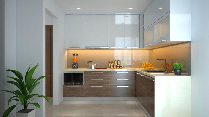 Tủ bếp gỗ acrylic chữ I nhỏ gọn sang trọng cho gian bếp nhà bạn