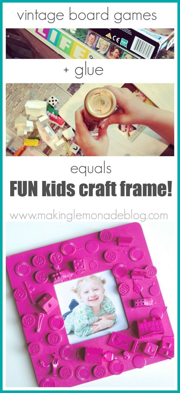 Easy Kids Craft Frame {From Old Board Games!} www.makinglemonadeblog.com #kidframe #diyframe