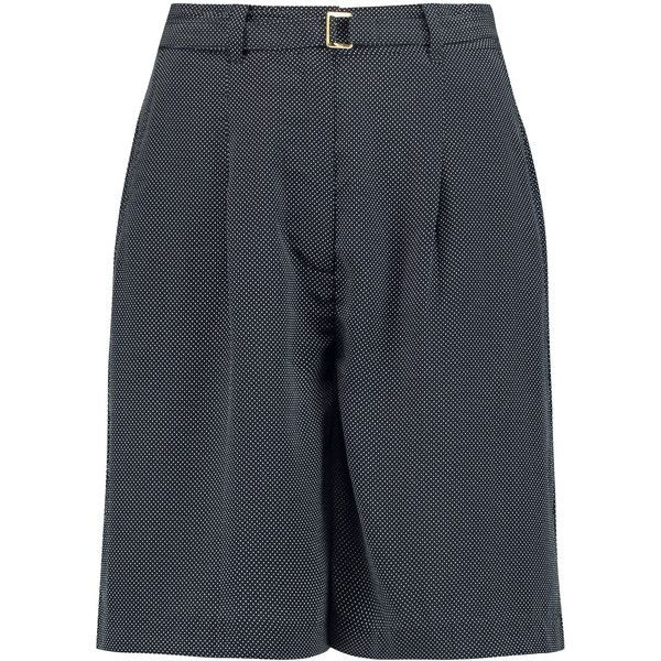 Equipment - Clover Polka-dot Silk Shorts ($89) ❤ liked on Polyvore featuring shorts, navy, dotted shorts, polka dot shorts, navy shorts, print shorts and silk shorts