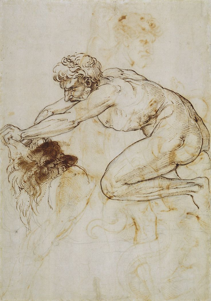 Raphael (Raffaello Sanzio), 1483-1520, Italian, Hercules and the Nemean Lion  c.1508.  Pen and ink.  Royal collection Trust, Windsor.  High Renaissance.