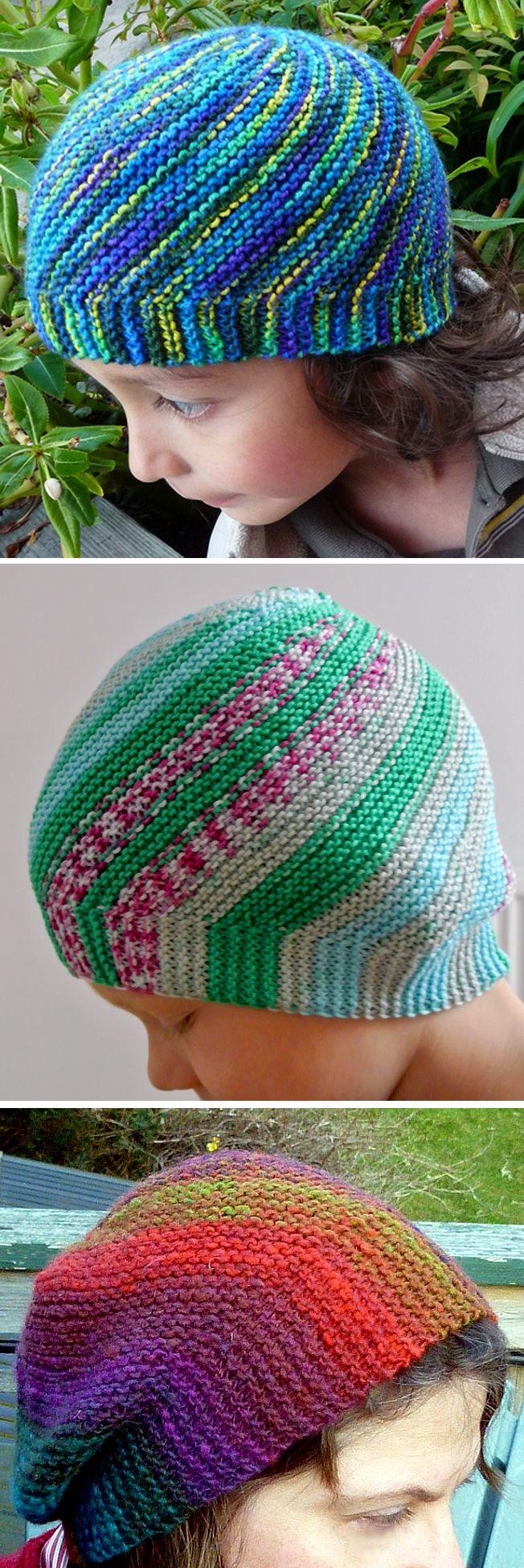 Free Knitting Pattern for Vertigo Hat - This hat is worked flat with short rows that create swirls of multi-colored or self-striping yarn. Designed by Kerstin Michler. Pictured project by sockpr0n, Tilde, and Spindrift. Available in English, Dutch, German, and Portuguese.
