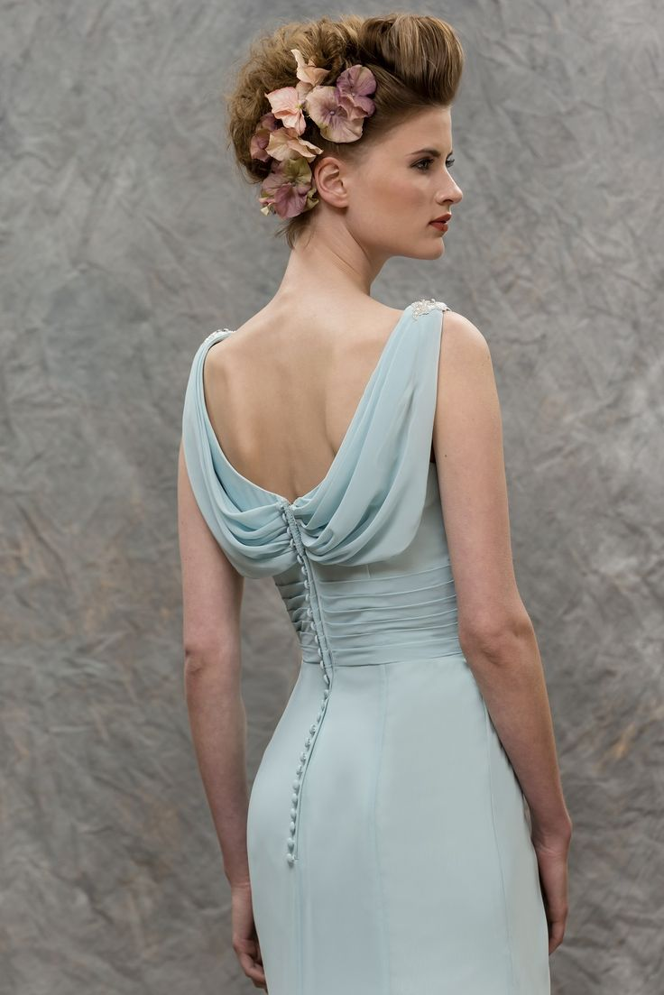 M592 slim chiffon bridesmaid dress with draped neckline for Sheath wedding dress with beading and side drape