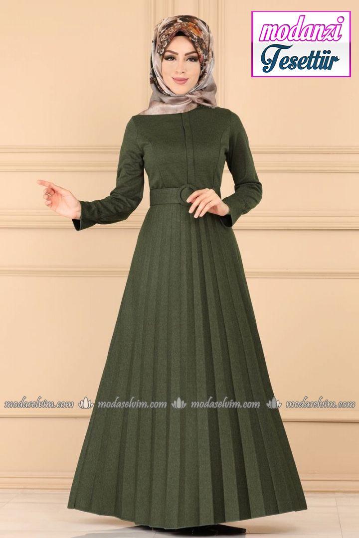 Modaselvim Piliseli Tesettur Elbise 5056ef311 Haki Moda Selvim 2020 Musluman Modasi Elbise Moda Stilleri