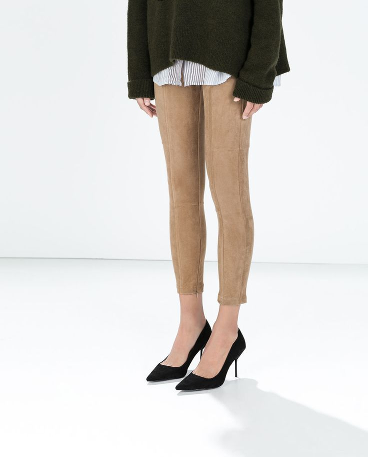 Image 2 of SEAMED FAUX SUEDE LEGGINGS from Zara