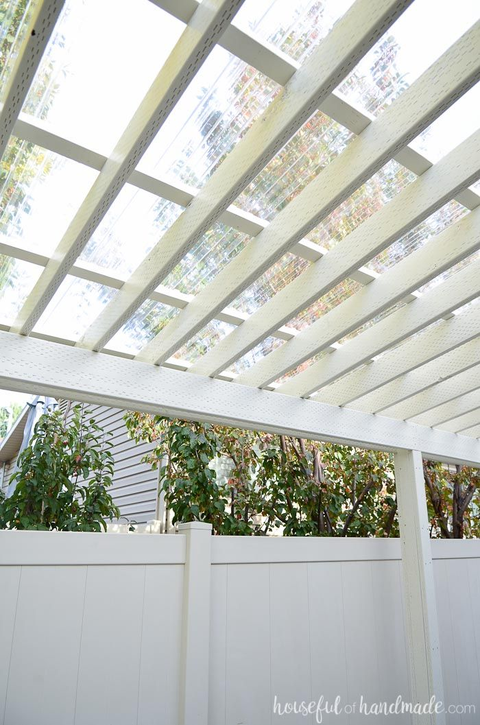 Turn your pergola into a covered porch. You can now use it all year round.  See how we installed a clear pergola roof. Housefulofhandmade.com - Installing A Clear Pergola Roof If We Ever Build A House