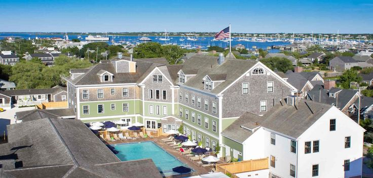 Aerial view of The Nantucket Hotel with Harbor & Pool