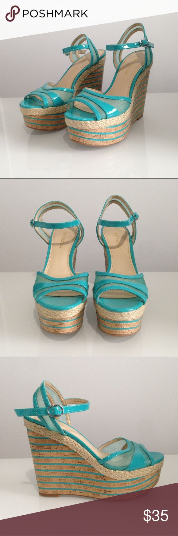 Enzo Angliolini Turquoise Wedges Vibrant turquoise wedges with ankles straps, fun mesh panels, and an open toe. These have never been worn, but there is some peeling on the back right heel. Enzo Angiolini Shoes Wedges