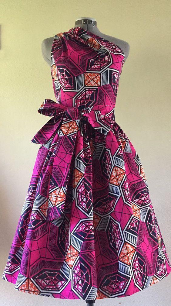 Make a Statement African Wax Print One Shoulder Dress by WithFlare ~DKK ~African fashion, Ankara, kitenge, African women dresses, African prints, African men's fashion, Nigerian style, Ghanaian fashion.