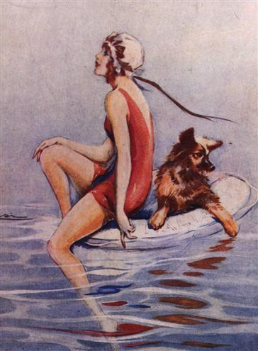 Rimini 1928  Bagnante. llustrazione nella rivista Perle, strenna estiva, 1928.