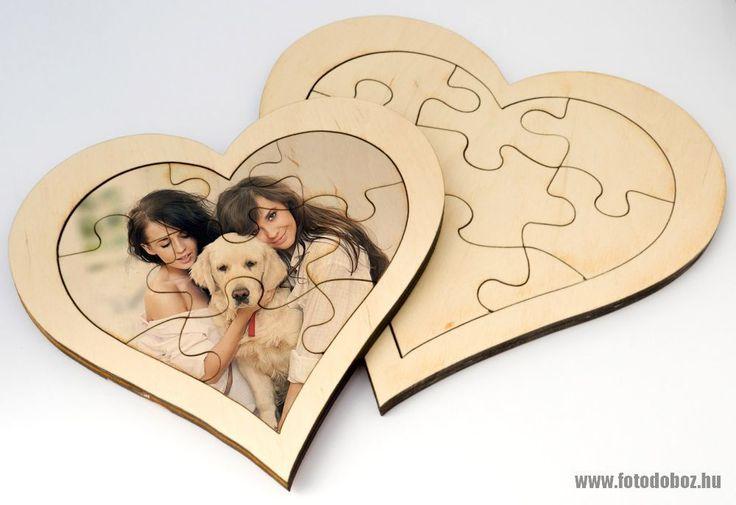 Fa puzzle szív a Te fotóddal