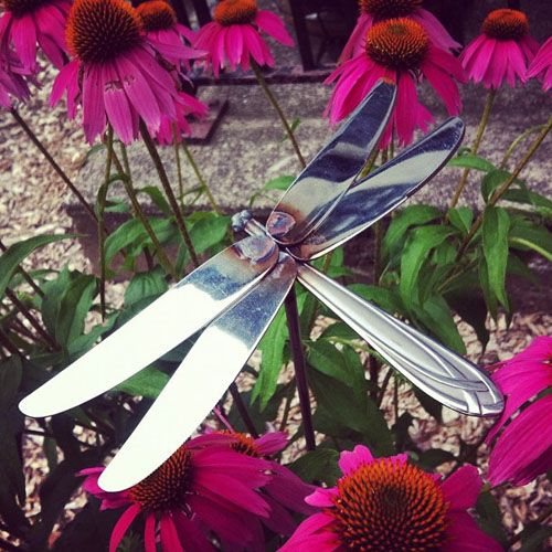 Dragonfly made from silverware