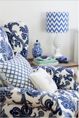 blue and white patterns, perhaps not all together but each is interesting