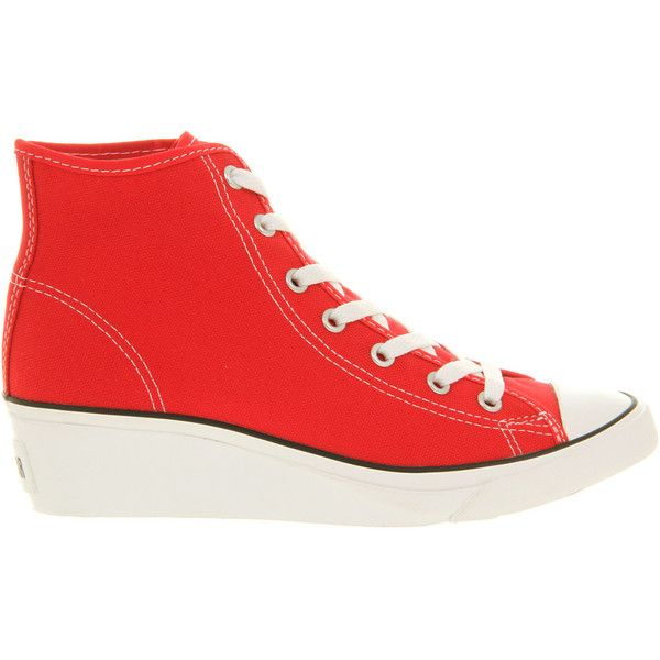 Converse All Star Hi-ness ($36) ❤ liked on Polyvore featuring shoes, sneakers, red, red canvas sneakers, canvas wedge sneakers, platform wedge sneakers, platform sneakers and red wedge sneakers