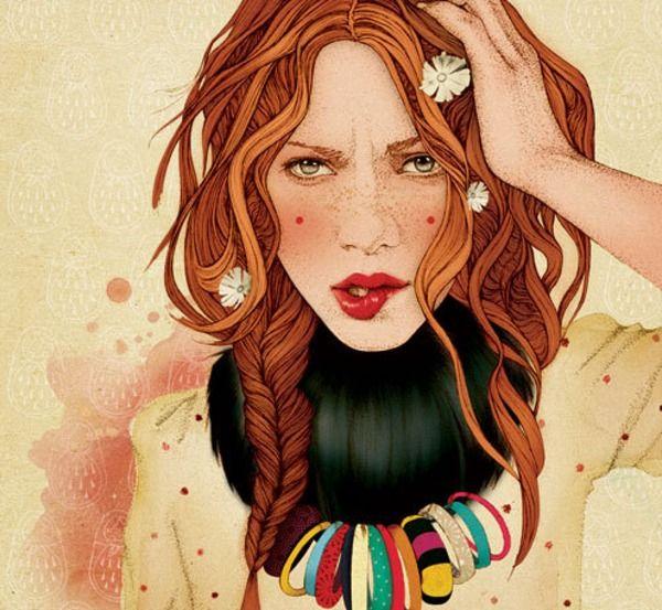 Redhead, Braid, Flowers: Inspiration, Art, Redhead, Hair, Drawing, Fashion Illustrations, Red Head