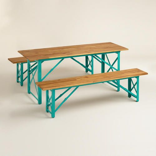 Dining Table and Benches. Not period in the slightest, but they fold down into a very narrow footprint.