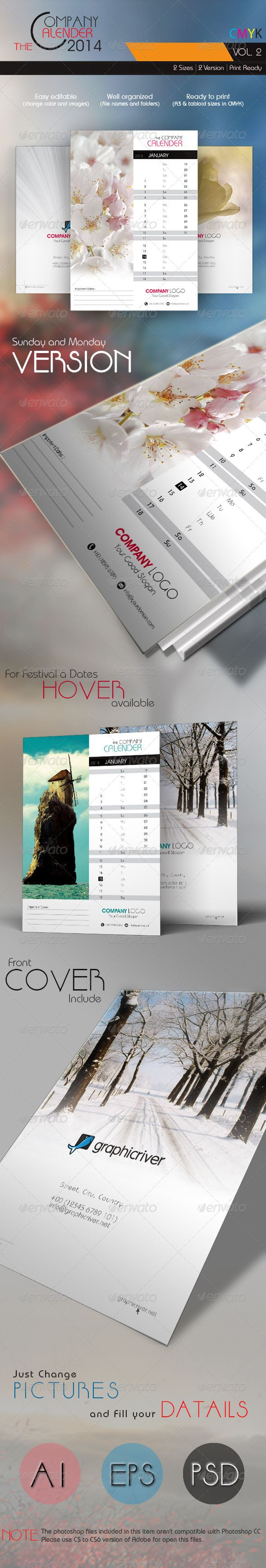 The Company Calender 2014 Vol. 2  #GraphicRiver         The Company Calendar 2014 Vol. 2 Fully Layered Ai Eps & PSD Layout // A3 & 11×17 inch (Tabloid) Versions Each calendar includes 13 months from January 2014 to January 2015 plus Front Cover. Clean, well organized and easy to use, just add in your own company or personal details, adjust the color, add your photos and you are ready to print. Features: 100 % Vector, Icons Included, Fully editable text, Important dates corner, Monday and…