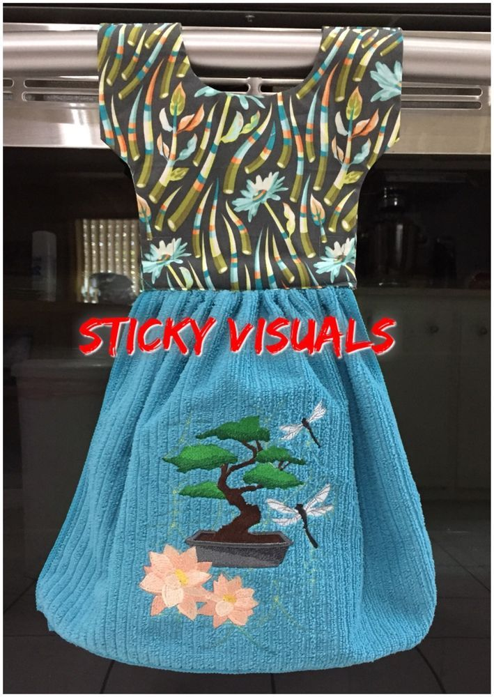 oven door kitchen towels handmade embroidered bonsai tree bamboo teal blue new - Kitchen Towels New Design