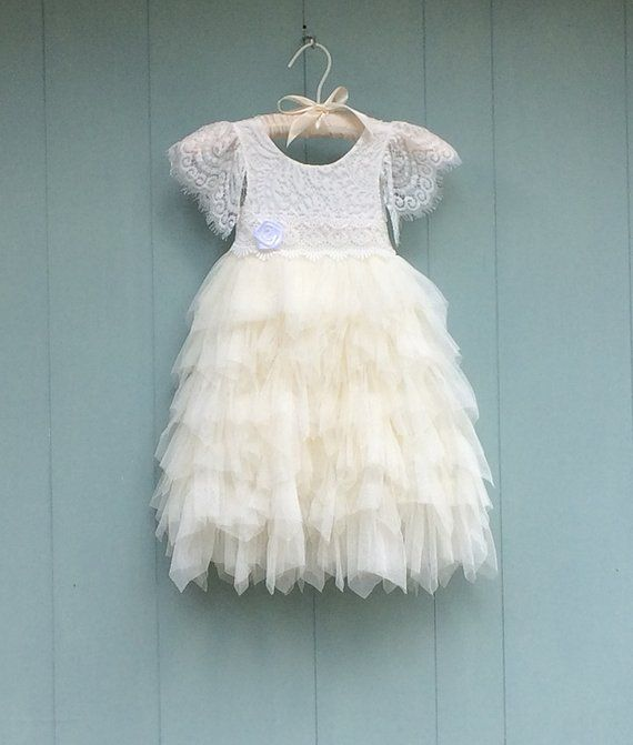 565ea74cec0e Ivory tulle flower girl dress, Lace flower girl dress Junior Bridesmaid,  Ivory tutu dress, Bohemian dress, First Birthday dress, Couture