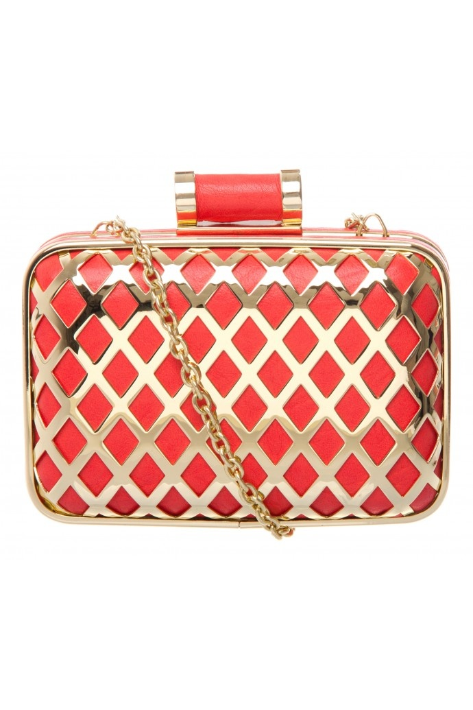 Criss-cross Frame Box Clutch- Love the detail of this bag, reminds me of stained glass window panes!
