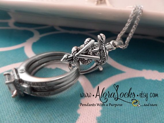 Veterinary Caduceus Wedding Band / Engagement Ring & Charm Holding Pendant /Holder Necklace by AloraLocks