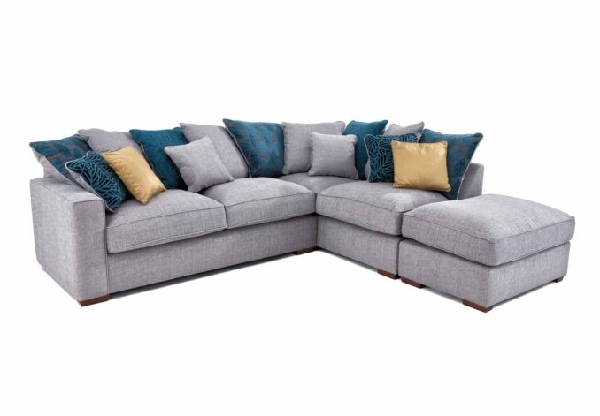 Rhf Scatter Back Chaise Sofa With Footstool Dune