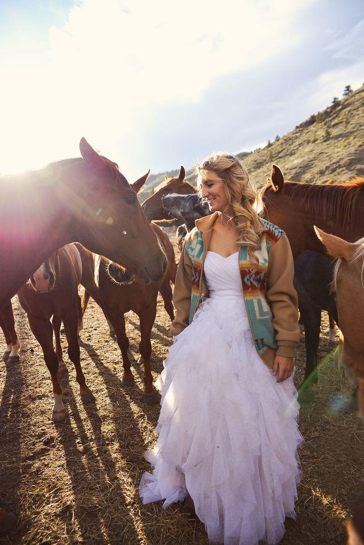 colorado, trash the dress, ranch wedding, country wedding, rustic wedding, cowboy wedding, cowgirl, horses, horse wedding, Pendleton bride