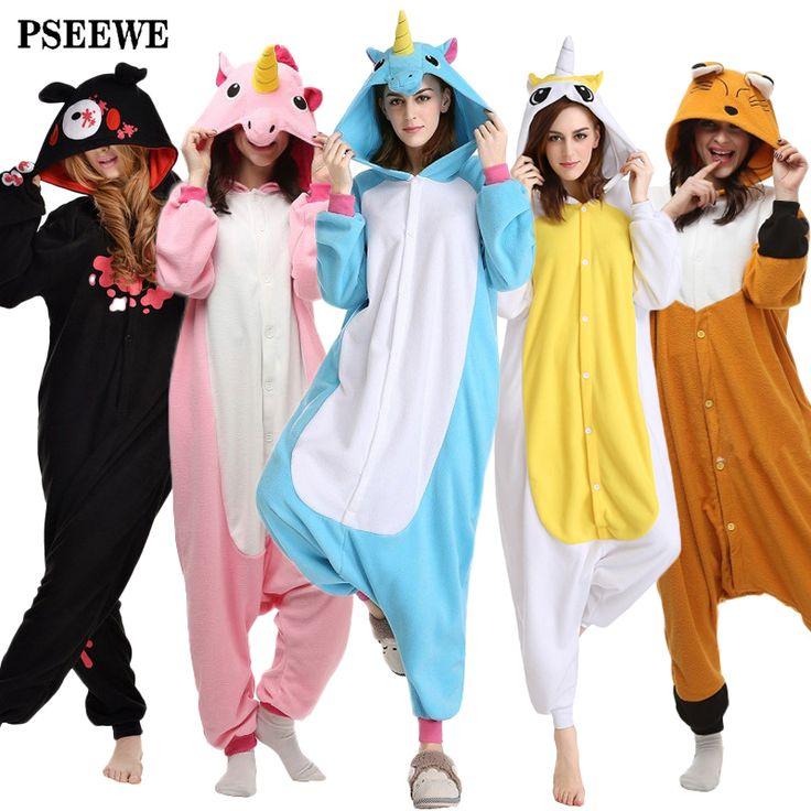 Polar fleece Onesie Unicorn Bear kangaroo Adult Animal Pyjamas women Animal pajamas one piece Sleepwear female >>> For more information, visit image link.