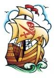 Classic Vintage Pirate Ship Tattoo