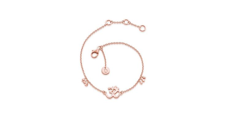 Buy Daisy'­s iconic Rose Gold Om Good Karma chain bracelet. Good Karma Bracelets combine your hopes and dreams with precious jewellery. It will remind you to treasure happiness.