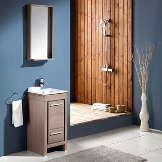 fresca allier 16inch grey oak modern bathroom vanity with mirror
