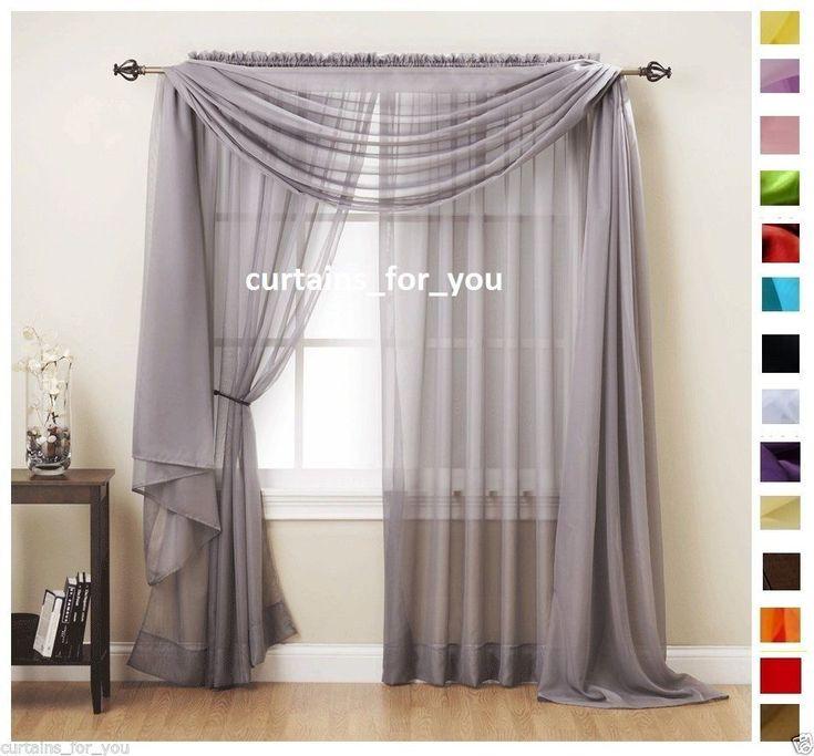 Details About Voile Curtains Scarf Pelmet Valance 17