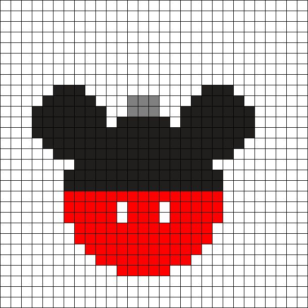 Mickey Mouse Christmas Ornament Perler Bead Pattern